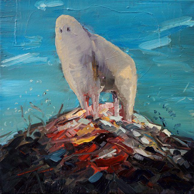 Philipp Kummer, dünne Luft, 2018, Öl auf Leinwand, 40 x 40 cm