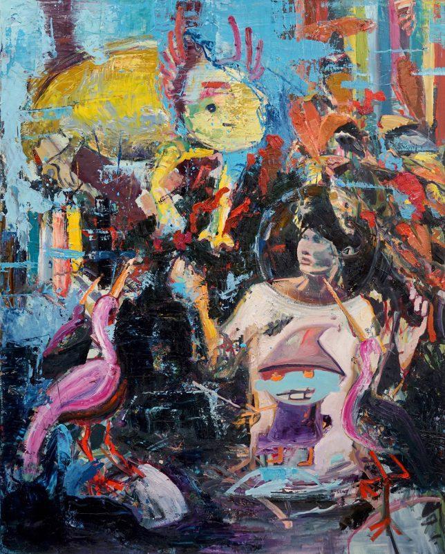 Philipp Kummer, Samurai, 2018, Öl auf Leinwand, 200 x 160 cm
