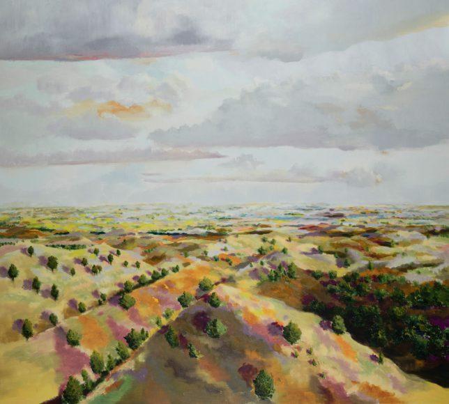 Tjark Ihmels, Landschaft mit Hügeln, 2018, Öl auf Leinwand, 180 x 200 cm