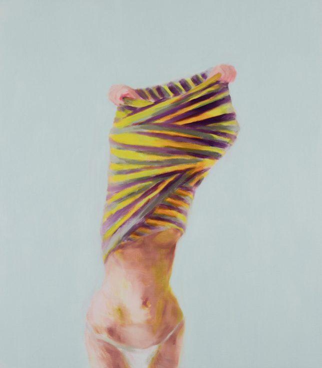 Tjark Ihmels, Das gestreifte Kleid, 2018, Öl auf Leinwand, 80 x 70 cm