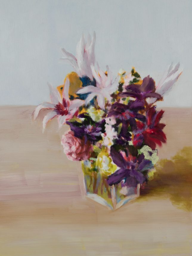 Tjark Ihmels, Blumen in Glas, 2019, Öl auf Leinwand, 80 x 60 cm