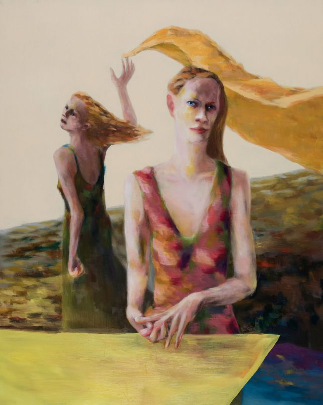 Tjark Ihmels, Frauen mit Tuch, 2019, Öl auf Leinwand, 100 x 80 cm