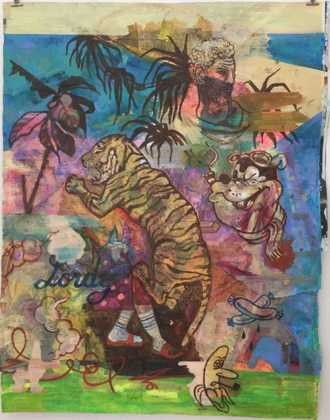 Jan Schmelcher, Rastapopoulos, 2019, Öl auf Papier, 100 x 130 cm