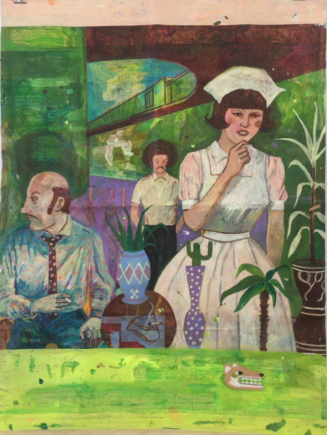 Jan Schmelcher, Dog Days, 2019, Öl auf Papier, 139 x 103 cm