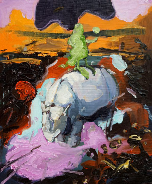 Philipp Kummer, Crows Nest, 2018, ÖL auf Holz, 30 x 25 cm