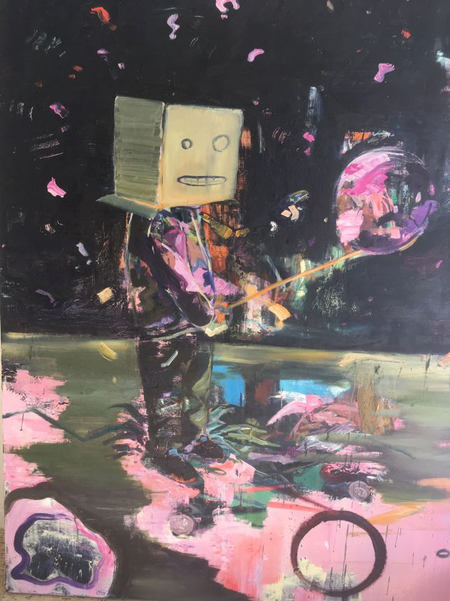 Philipp Kummer, Schrödingers Feierabend, 2018, Öl auf Leinwand, 160 x 120 cm