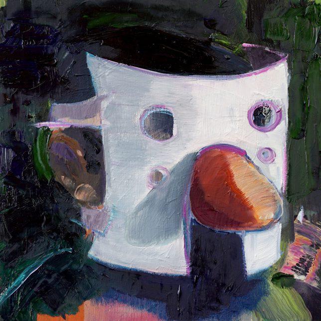 Philipp Kummer, Maske, 2018, ÖL auf Holz, 25 x 25 cm