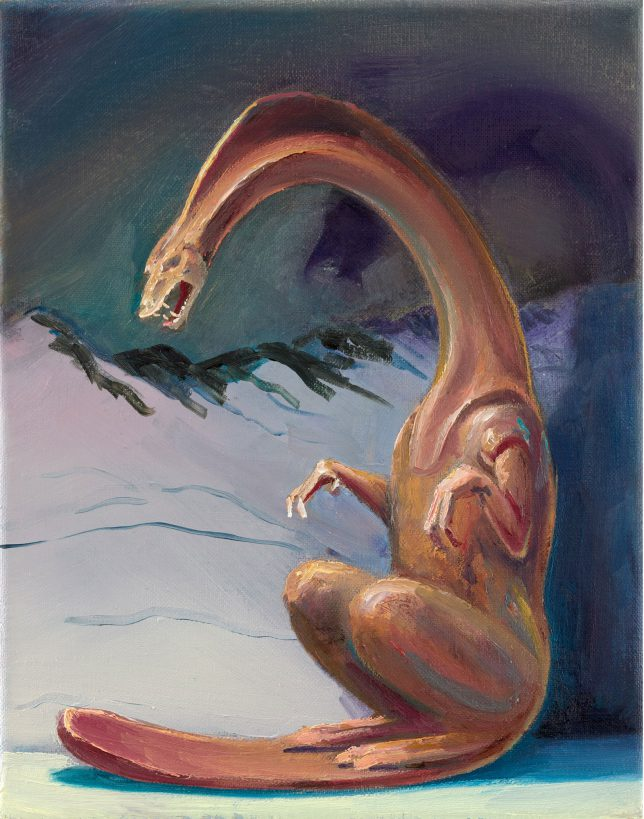 Sebastian Meschenmoser, Flash Gordon Nippes Eisdrache, 2019, oil on canvas, 25 x 15 cm