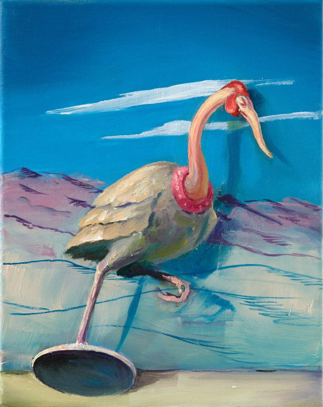 Sebastian Meschenmoser, Flash Gordon Nippes Eissprinter, 2019, oil on canvas, 25 x 15 cm