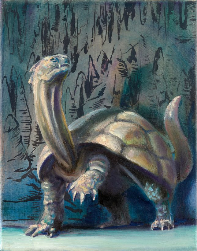 Sebastian Meschenmoser, Flash Gordon Nipper ,Hoehlenschildkroete, 2019, oil on canvas 25 x 15 cm