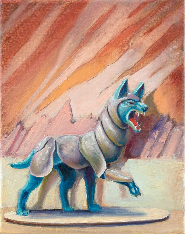 Sebastian Meschenmoser, Flash Gordon Nipper ,Panzerwolf, 2019, oil on canvas, 25 x 15 cm