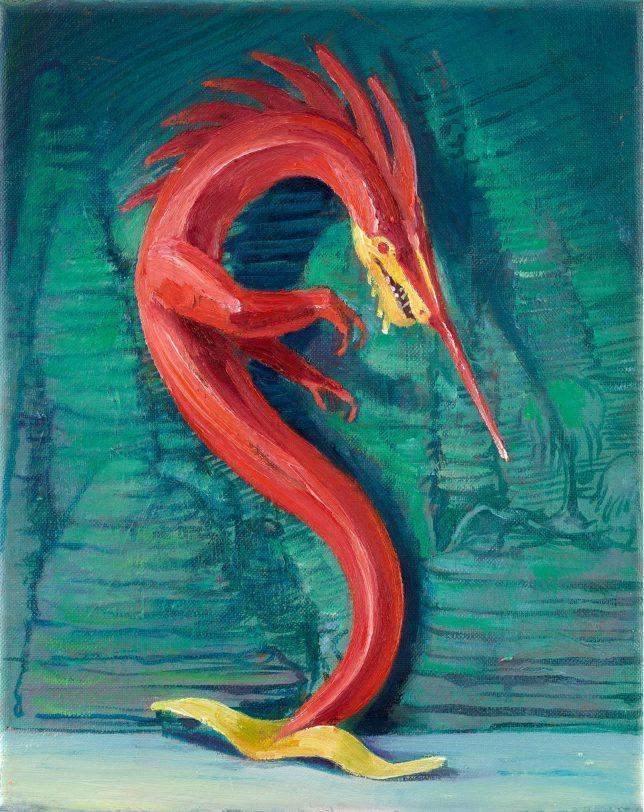 Sebastian Meschenmoser, Flash Gordon Nipper, Seedrache, 2019, oil on canvas, 25 x 15 cm