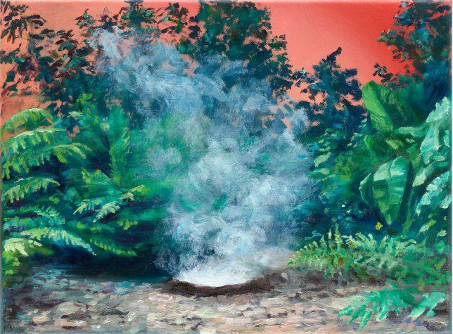 Sebastian Meschenmoser, Gamma Trianguli, VI, Nebel, 2019, Öl auf Leinwand, 26cm x 35 cm