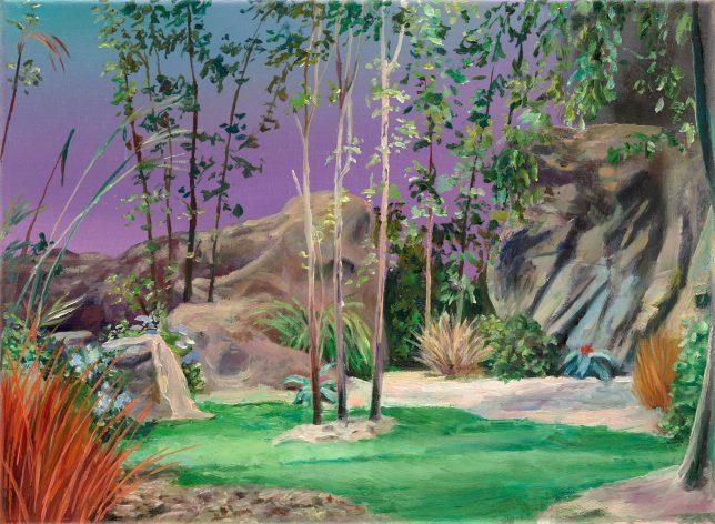 Sebastian Meschenmoser, Kelvanerexilplanet Violett, 2019, Öl auf Leinwand, 26 x 35 cm