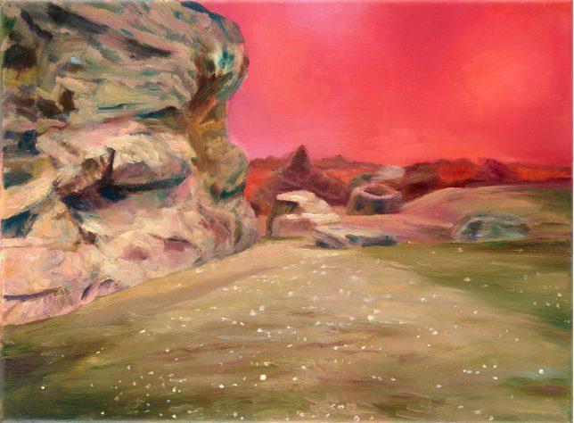 Sebastian Meschenmoser, Vulkan, 2019, Öl auf Leinwand, 26 x 35 cm