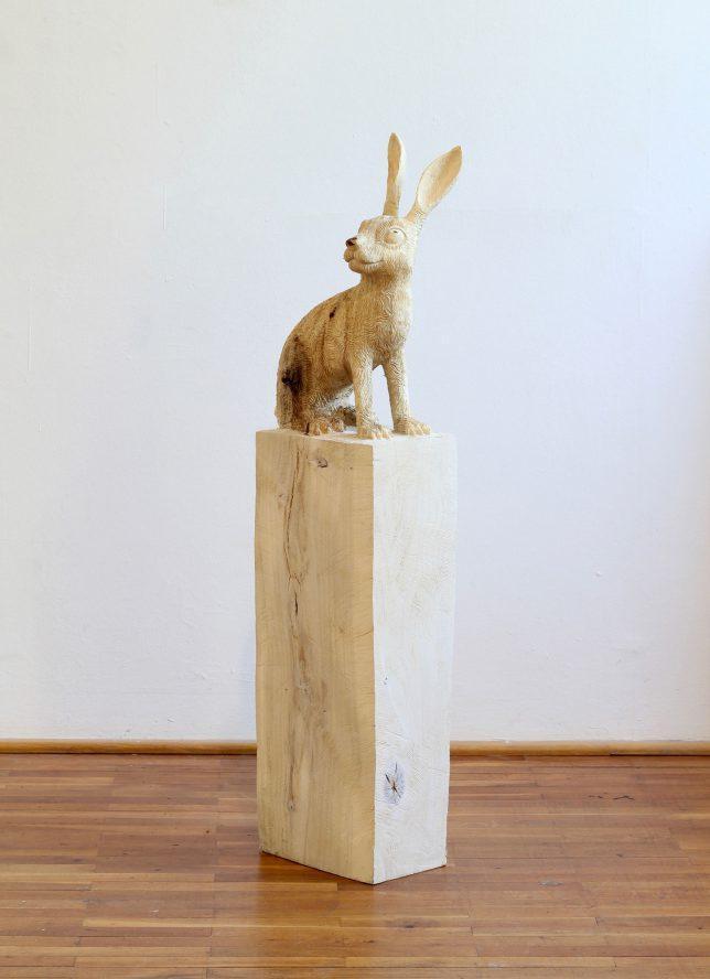 Jan Thomas, Bunny, 2018, Pappelholz, Lasur, 125 cm