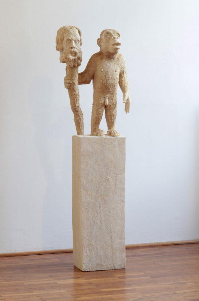 Jan Thomas, Le Philosophe, 2019, Pappelholz, Lasur, 162 cm