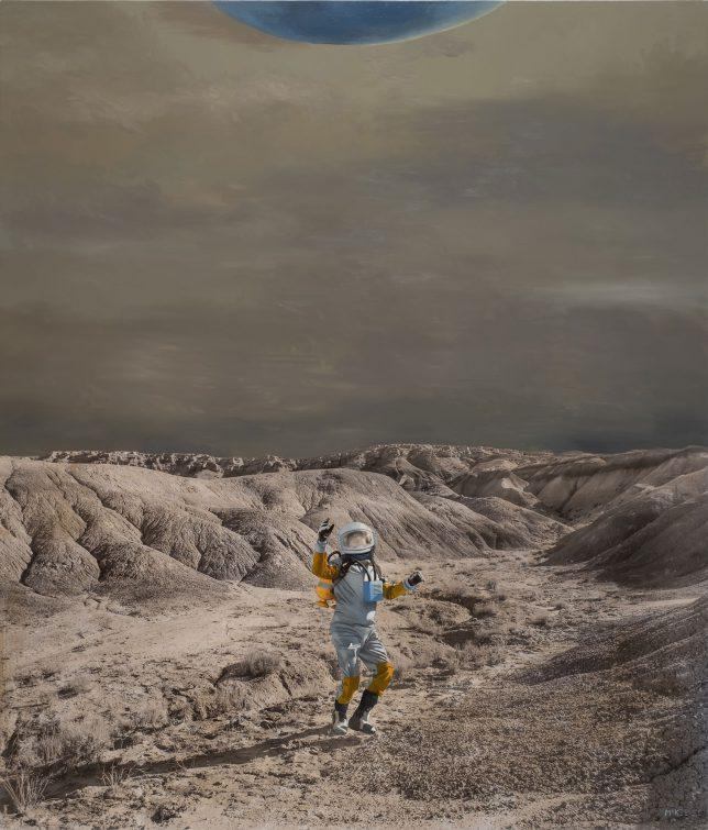 Casey McKee, Friend-Unfriend, 2018, photograph, oil on canvas, 150 x 130 cm