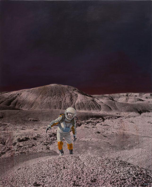 Casey McKee, Feedback Loop, 2018, C-Print Öl auf Leinwand, 160 x 130 cm