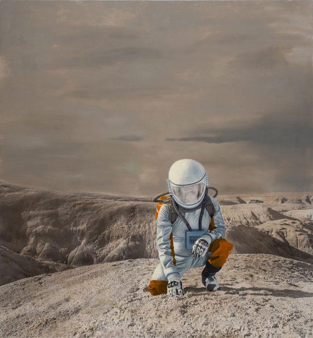 Casey McKee, Interface, 2018, photograph, oil on canvas, 140 x 130 cm