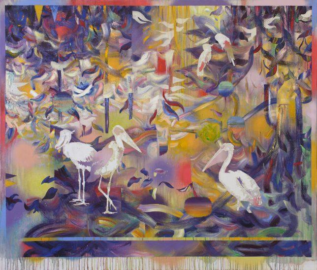 Matthias Moravek, Kedougou, 2019, Öl auf Leinwand, 170 x 200 cm