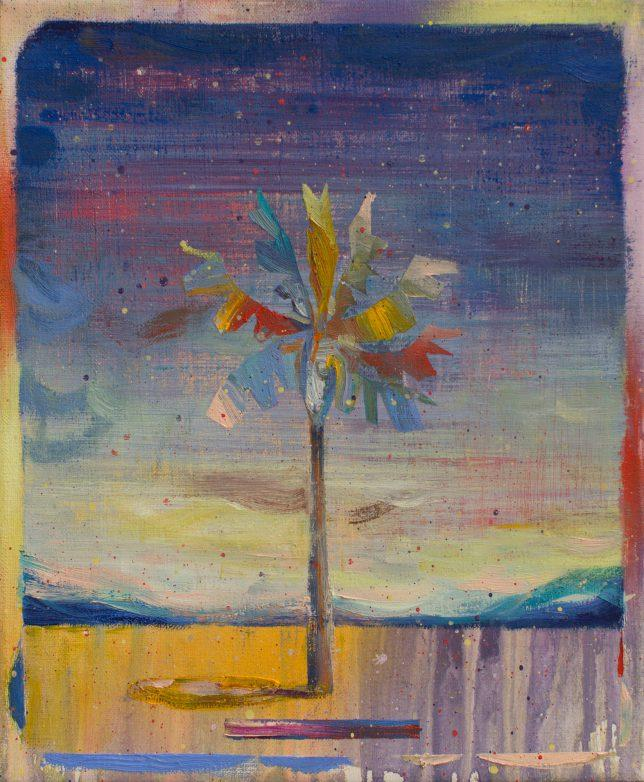 Matthias Moravek, Coachella, 2020, Öl auf Leinwand, 30 x 20 cm