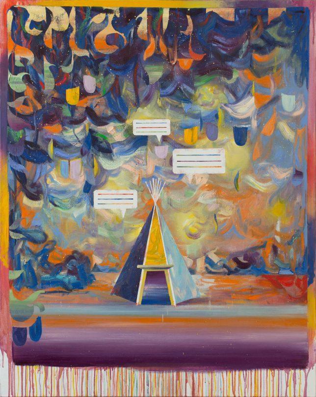 Matthias Moravek, Tipi, 2020, Öl auf Leinwand, 120 x 95 cm.