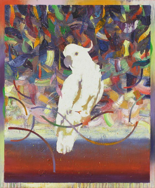 Matthias Moravek, Kakadu-l, 2019, Öl auf Leinwand, 60 x 50 cm