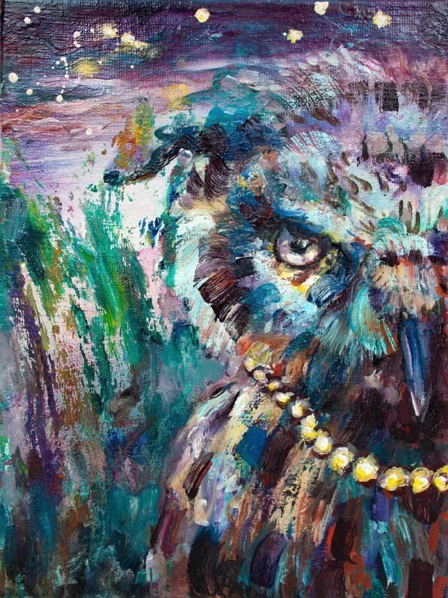 Florian Pelka, Nachteule, 2014, oil on canvas, 40 x 30 cm