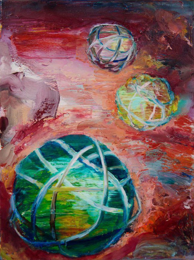 Florian Pelka, Globen, 2020, Öl auf Leinwand, 40 x 30 cm