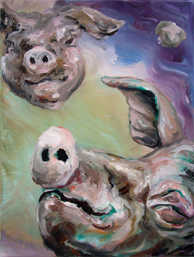 Florian Pelka, Im Weltraum, 2020, oil on canvas, 40 x 30 cm