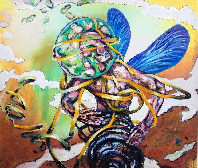Florian Pelka, Tänzer, 2020, oil on canvas, 270 x 200 cm