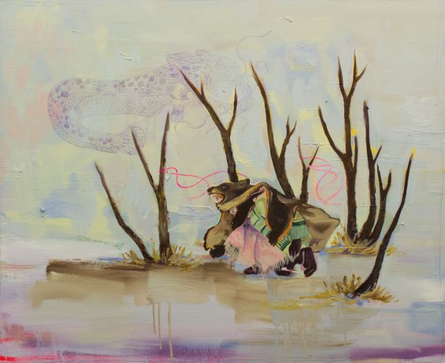 Ekaterina Leo, How to Catch a Big Fish, 2018, Öl auf Leinwand, 70 x 80 cm