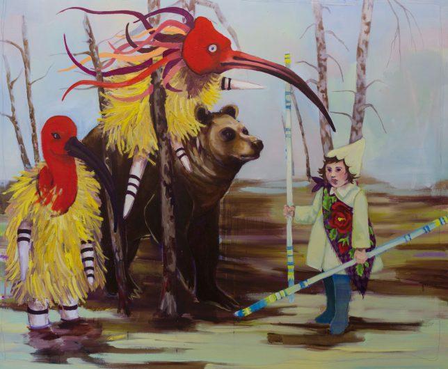 Ekaterina Leo, Auf der Hut, 2018, Öl auf Leinwand, 150 x 180 cm