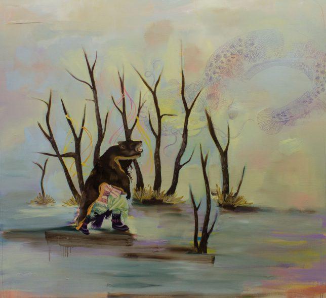 Ekaterina Leo, How to Catch a Big Fish II, 2018, Öl auf Leinwand, 120 x 130 cm