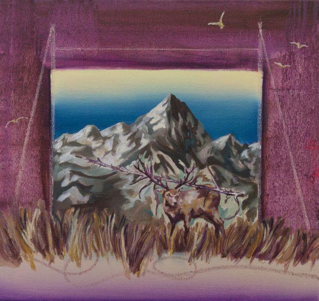 Ekaterina Leo, Looking Through the Mirror II, 2018, Öl auf Leinwand, 39 x 42 cm