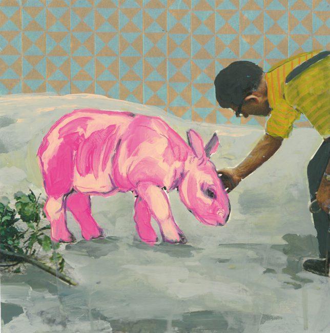 Leo Hildmann, Zoo II, 2018, Mixed Media auf Color Print, 21 x 21 cm