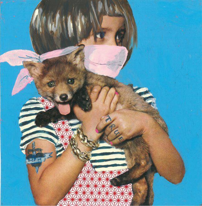Ekaterina Leo, Radioactive Zoo V, 2018, Mixed Media auf Color Print, 21 x 21 cm