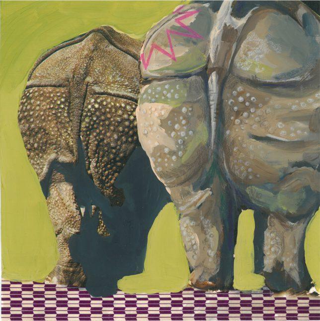 Ekaterina Leo, Radioactive Zoo VIII, 2018, mixed media on color print, 21 x 21 cm