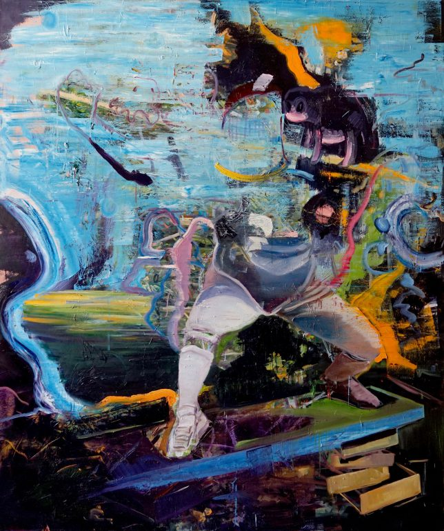 Philipp Kummer, Stock und Plan, 2018, Öl auf Leinwand, 200x 180 cm
