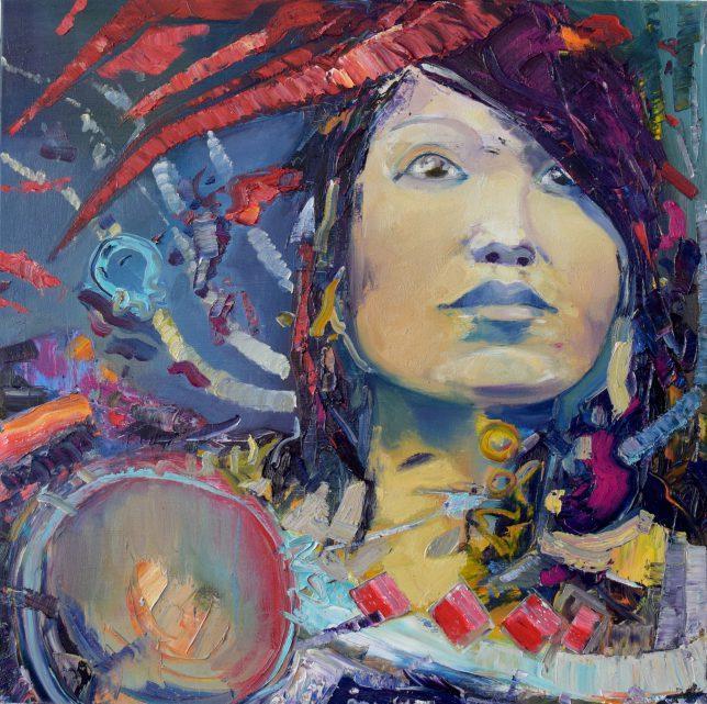 Philipp Kummer, Glimpse, 2019, Öl auf Leinwand, 80 x 80 cm