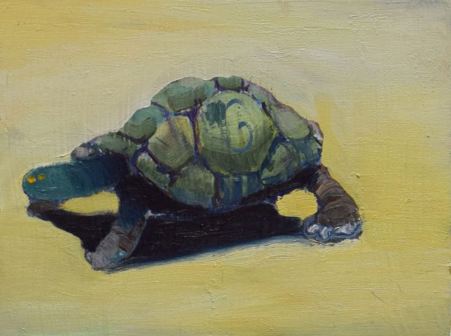Philipp Kummer, Tortoise, 2019, oil on canvas, 15 x 20 cm