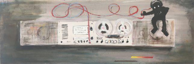 Philip Grözinger, I Love Brown and Brown Loves Me, 2019, Öl auf Leinwand, 40 x 120 cm