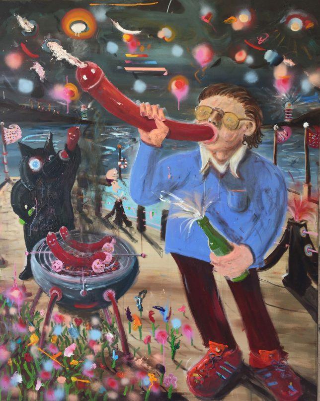 Philip Grözinger, Pölser, 2020, Öl auf Leinwand, 200 x 160 cm