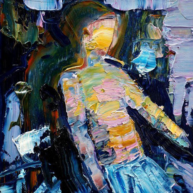 Philipp Kummer, Erschütterung, 2020, Öl auf Holz, 25 x 25 cm