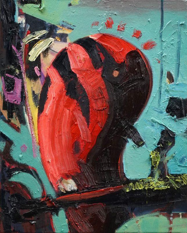 Philipp Kummer, Red King, 2020, Öl auf Leinwand, 50 x 40 cm