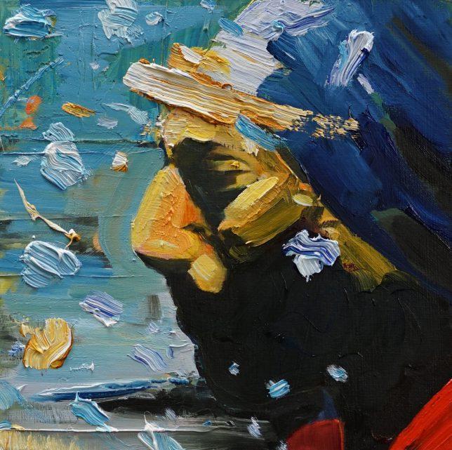 Philipp Kummer, Vorreiter, 2020, Öl auf Holz, 25 x 25 cm
