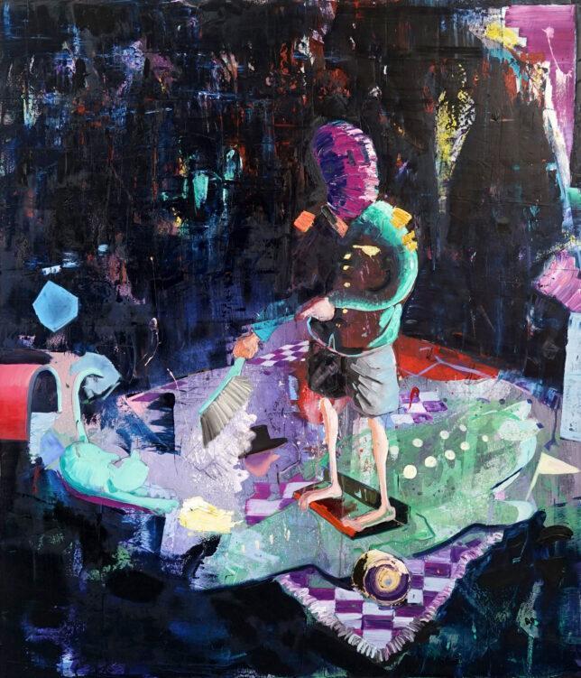 Philipp Kummer, A Dream in a locked Room, 2020, Öl auf Leinwand, 210 x 180 cm