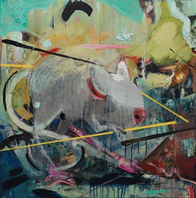 Philipp Kummer, Ich bin schon draussen, 2020, oil on canvas, 80 x 80 cm