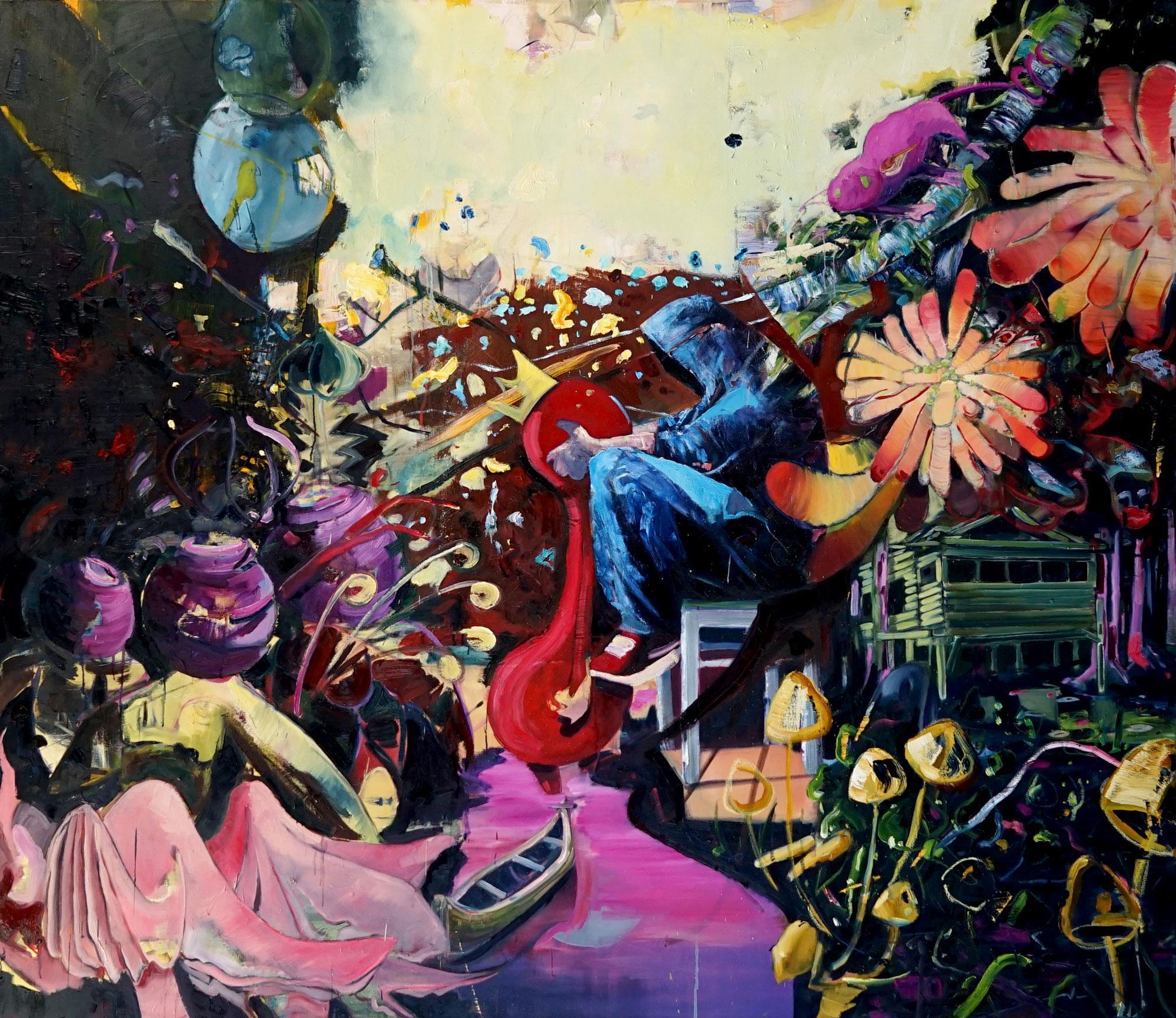 Philipp Kummer, Jede Geschichte ist wahr, 2020, Öl auf Leinwand, 200 x 230 cm